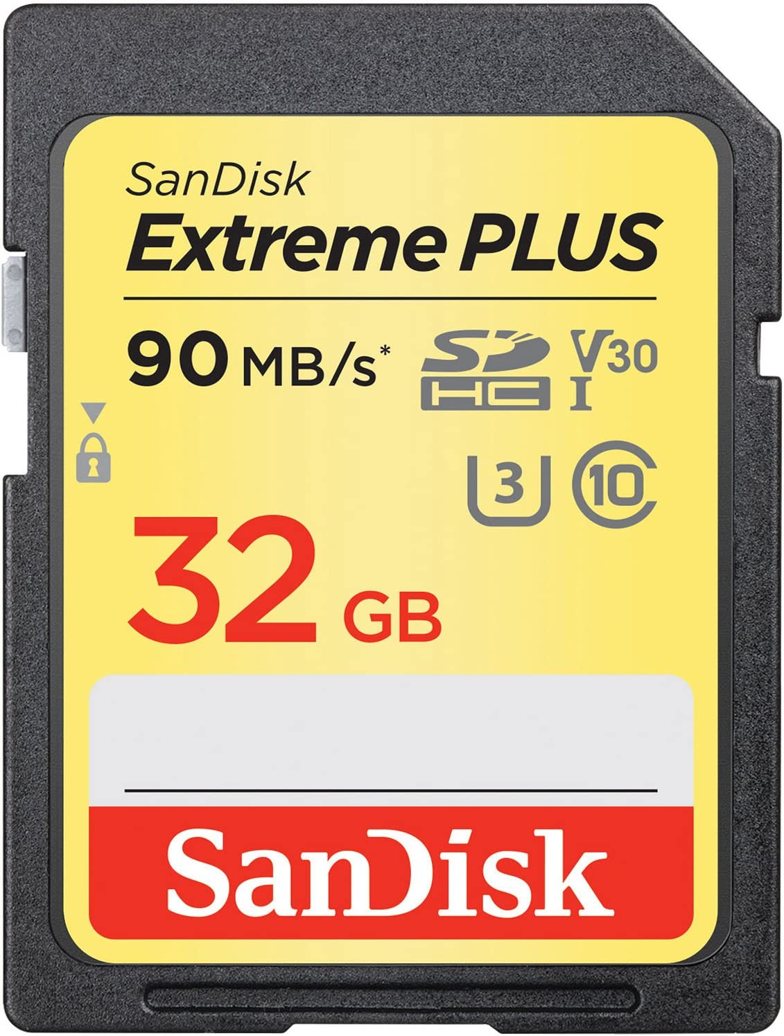 SanDisk Extreme PLUS 32GB SDHC UHS-I/V30/U3/Class 10 Card - Up to 90MB/s Read & 60MB/s Write Speed