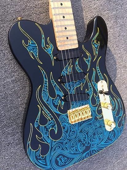 Guitarra eléctrica, doble cara, llama azul, hermosa guitarra ...