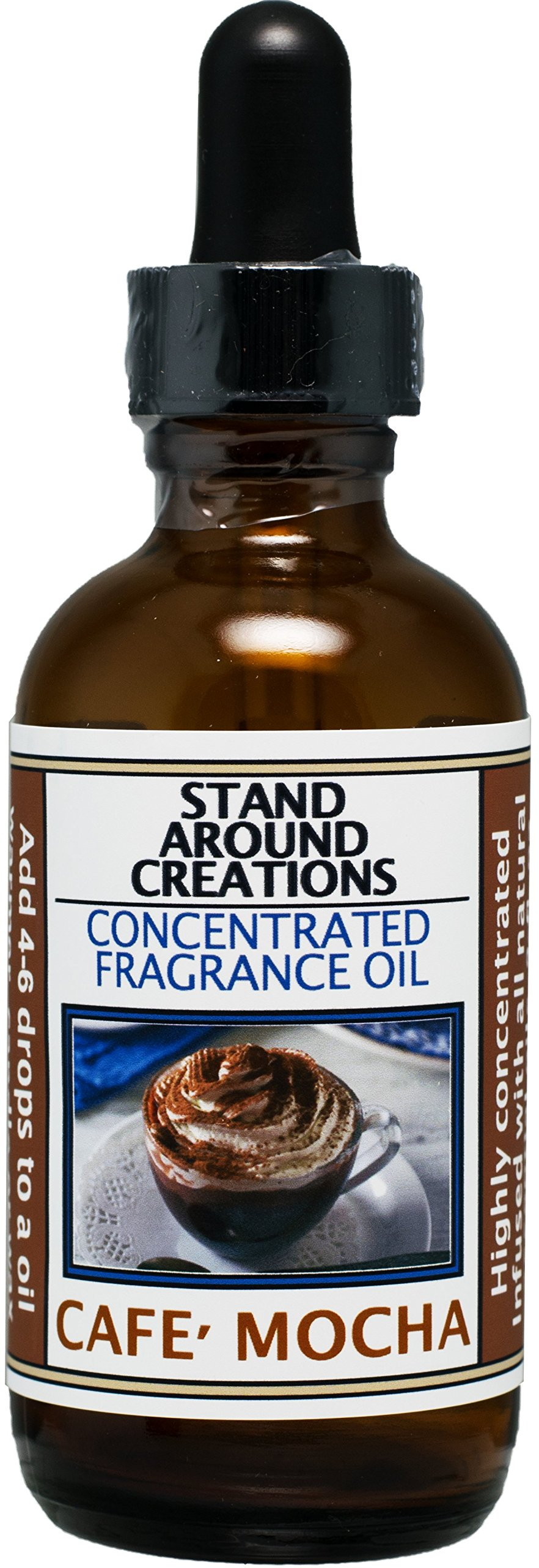 Premium Concentrated Fragrance Oil - Scent: Cafe Mocha- Fresh brewed coffee, chocolate syrup, creamy vanilla w/ marshmallows. Infused w/essential oils. Available in multiple sizes. (2 fl. oz.) by Stand Around Creations (Image #1)