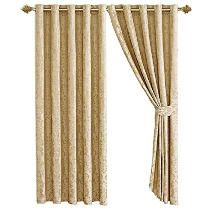Contemporary Fully Lined Striped Jacquard Chenille Eyelet Ring Top Curtains