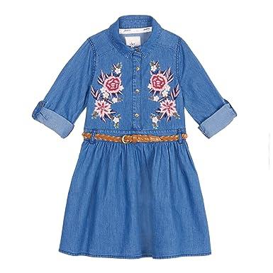 63c0f56e47d Mantaray Kids Girls  Blue Embroidered Dress  Mantaray  Amazon.co.uk ...