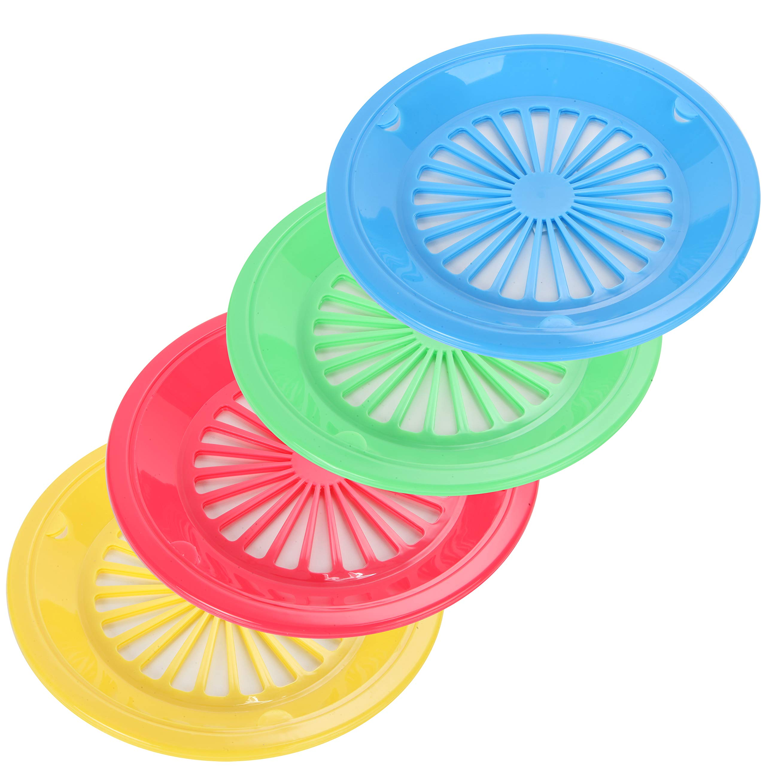 Trenton GIfts Reusable Paper Plate Holder   Durable Plastic   4 Assorted Colors   10''   Set of 12 by Trenton Gifts