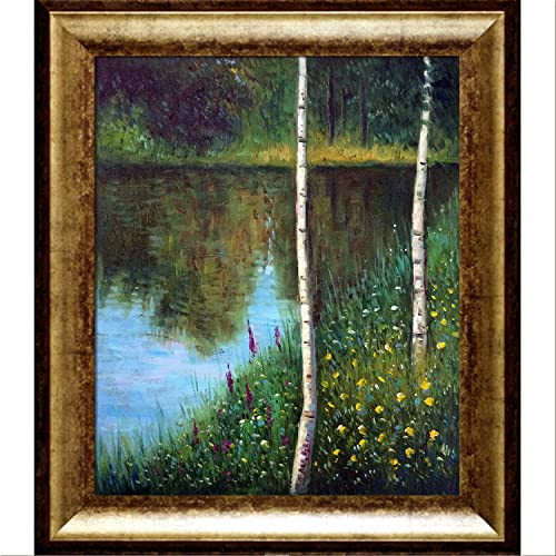 overstockArt Landscape with Birch Trees with Athenian Gold King Framed Oil Painting, 31 x 27 , Multi-Color