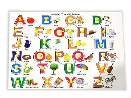 Mojopanda Wooden Upper Alphabet Tray with Picture with Knobs, Peg Puzzle Multi Color Capital Letters