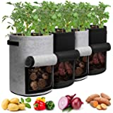 Potato Grow Bags with Flap 10 Gallon, 4 Pack Planter Pot with Handles and Harvest Window for Potato Tomato and Vegetables, Bl