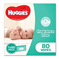 HUGGIES Baby Wipes Soft Pack Fragrance Free, 80 Wipes, Packaging may vary