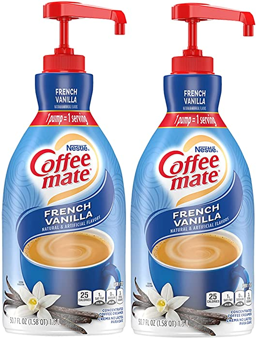 Nestle Coffee mate Coffee Creamer Liquid Pump Bottle, French Vanilla, 50.7 oz (Pack of 2)