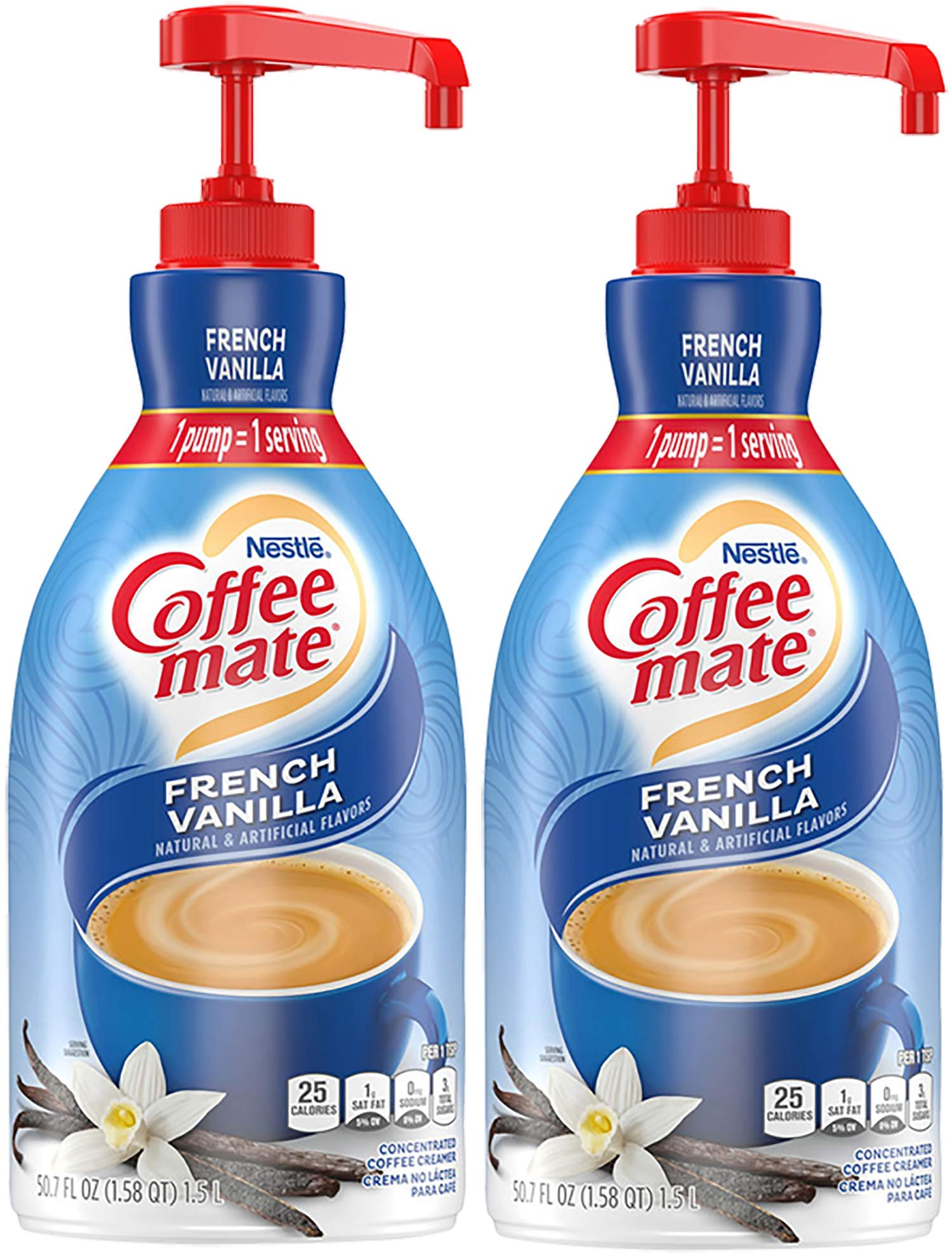 Nestle Coffee Mate Coffee Creamer, French Vanilla, Concentrated Liquid Pump Bottle, Non Dairy, No Refrigeration, 50.7 Fl. Oz (Pack of 2)