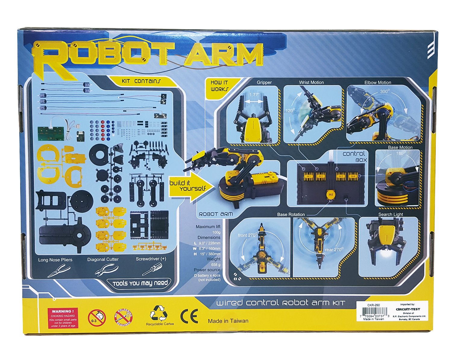 Amazon.com: CIRCUIT-TEST Robotic Arm Edge Kit with Wired Controller ...