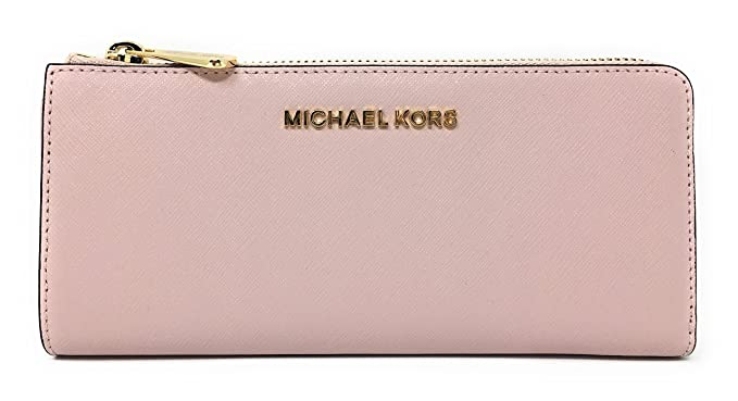44e03ea9fb19 Michael Kors Jet Set Large Three Quarter Zip Around Saffiano Leather Wallet  (Blossom)