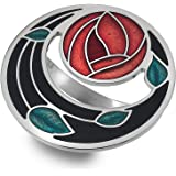 7258 Gift Boxed Rennie Mackintosh Glasgow Red Rose /& Coils Enamel Scarf Ring