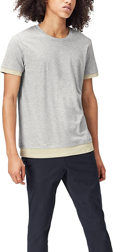 TALLA 50. Marca Amazon - find. Camiseta Clásica con Detalle en los Bordes para Hombre