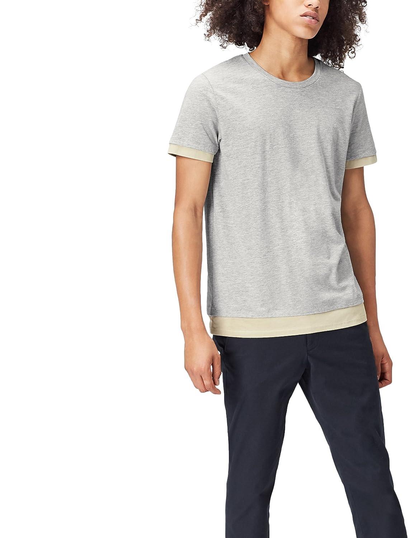 TALLA 50 (Talla del Fabricante: Medium). find. Camiseta Clásica con Detalle en los Bordes para Hombre, Gris (Grey Marl/khaki), Medium
