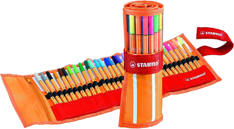 Rotulador punta fina STABILO point 88 Estuche premium de tela Rollerset con 30 colores + STABILO BOSS Original PASTEL Marcador Estuche 6 colores: Amazon.es: Oficina y papelería