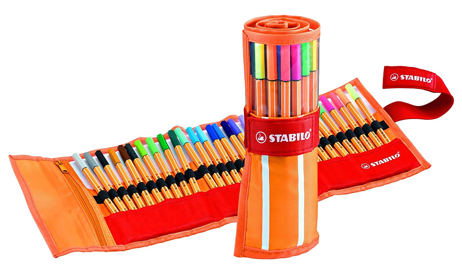 STABILO point 88 Fineliner - Rollerset of 30 Assorted Colours, -25 standard and 5 Neon 8830-2