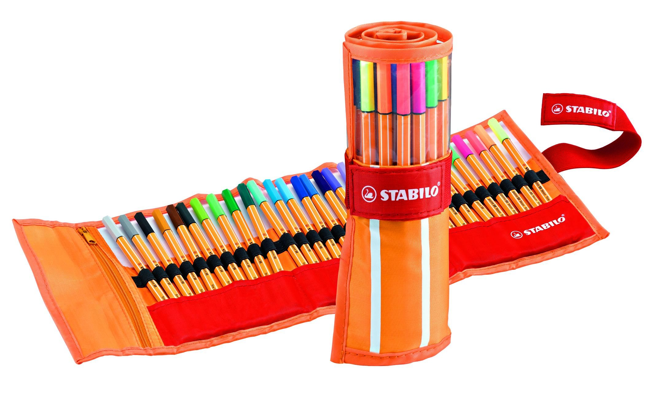 Stabilo Point 88 Fineliner Pens, 0.4 mm - 30-Color Rollercase Set by STABILO