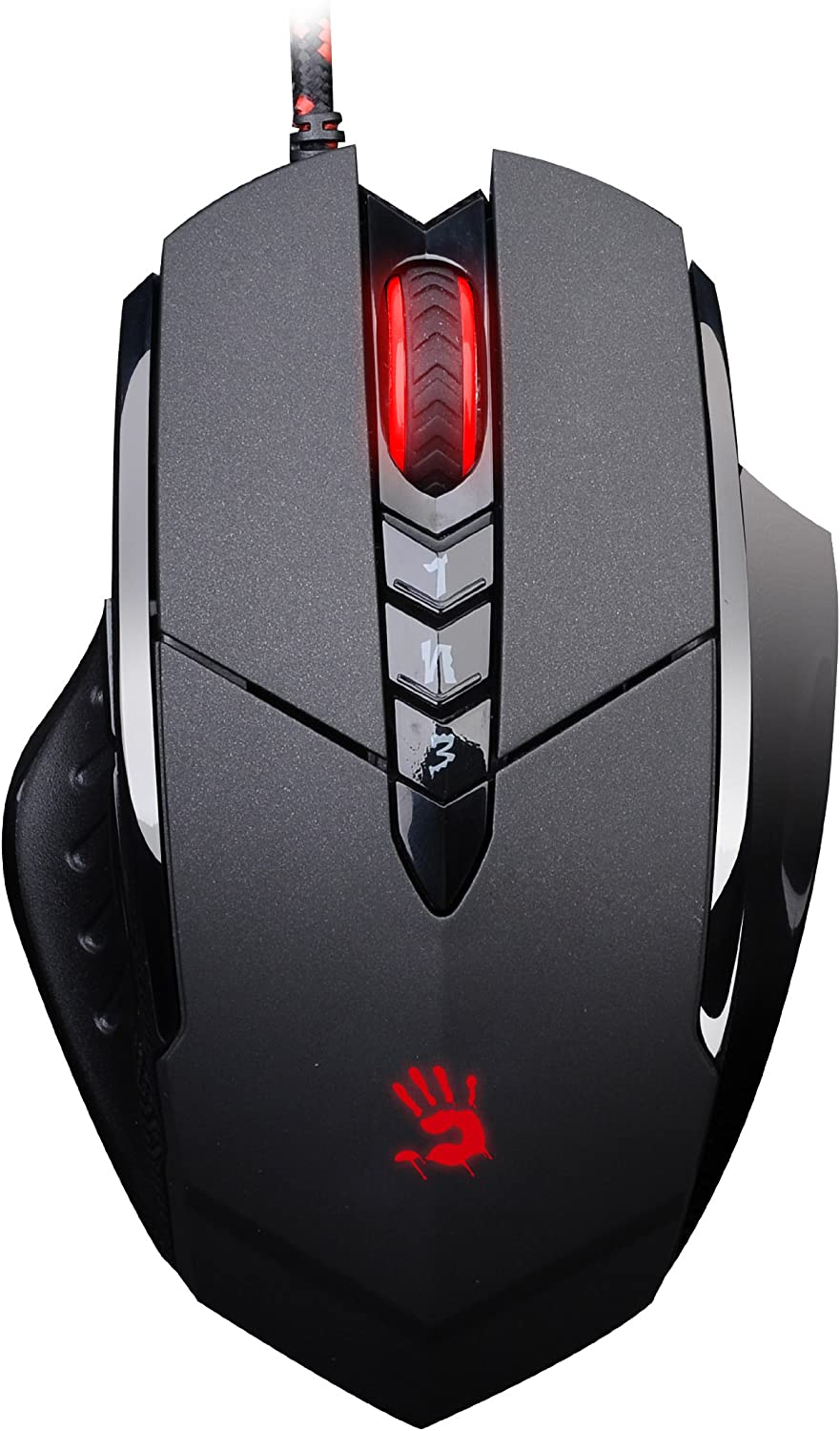 Bloody V7 Ergonomic Claw Grip Gaming Mouse with Rubberized Black Coating - Macros/Scripting/Automation - 8 Programmable Buttons - 3200 DPI