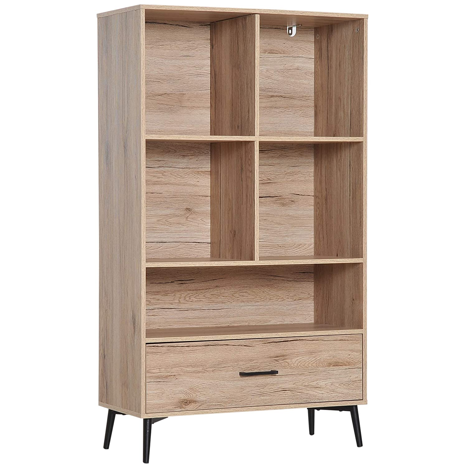 Mid-Century Modern Bookcase Freestanding Home Storage Cabinet Display Rack Home Office Furniture Oak Wood Aosom Canada