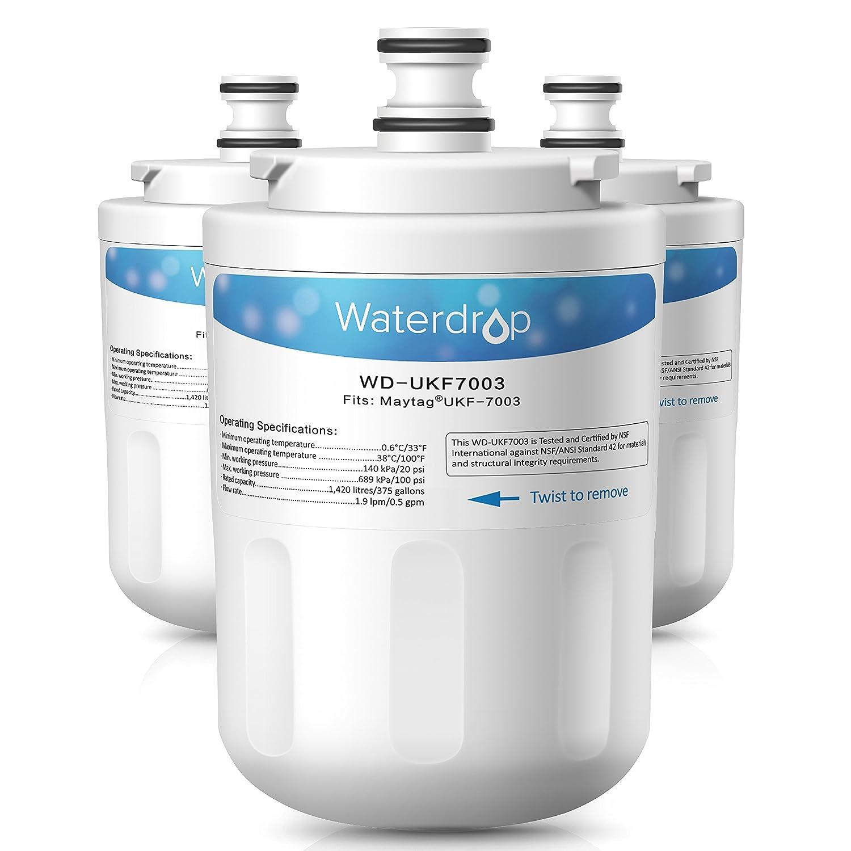 Waterdrop Refrigerator Water Filter, Compatible with Maytag UKF7003, UKF7002AXX, UKF7002, UKF7003AXX, 7003AXXP, UKF7001AXX, UKF6001AXX, UKF5001AXX, Whirlpool EDR7D1, Pack of 3