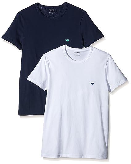 66a3dc266 Emporio Armani Intimates Men's 6P712-2Pk T Shirt, Blue Bianco-Marine/White