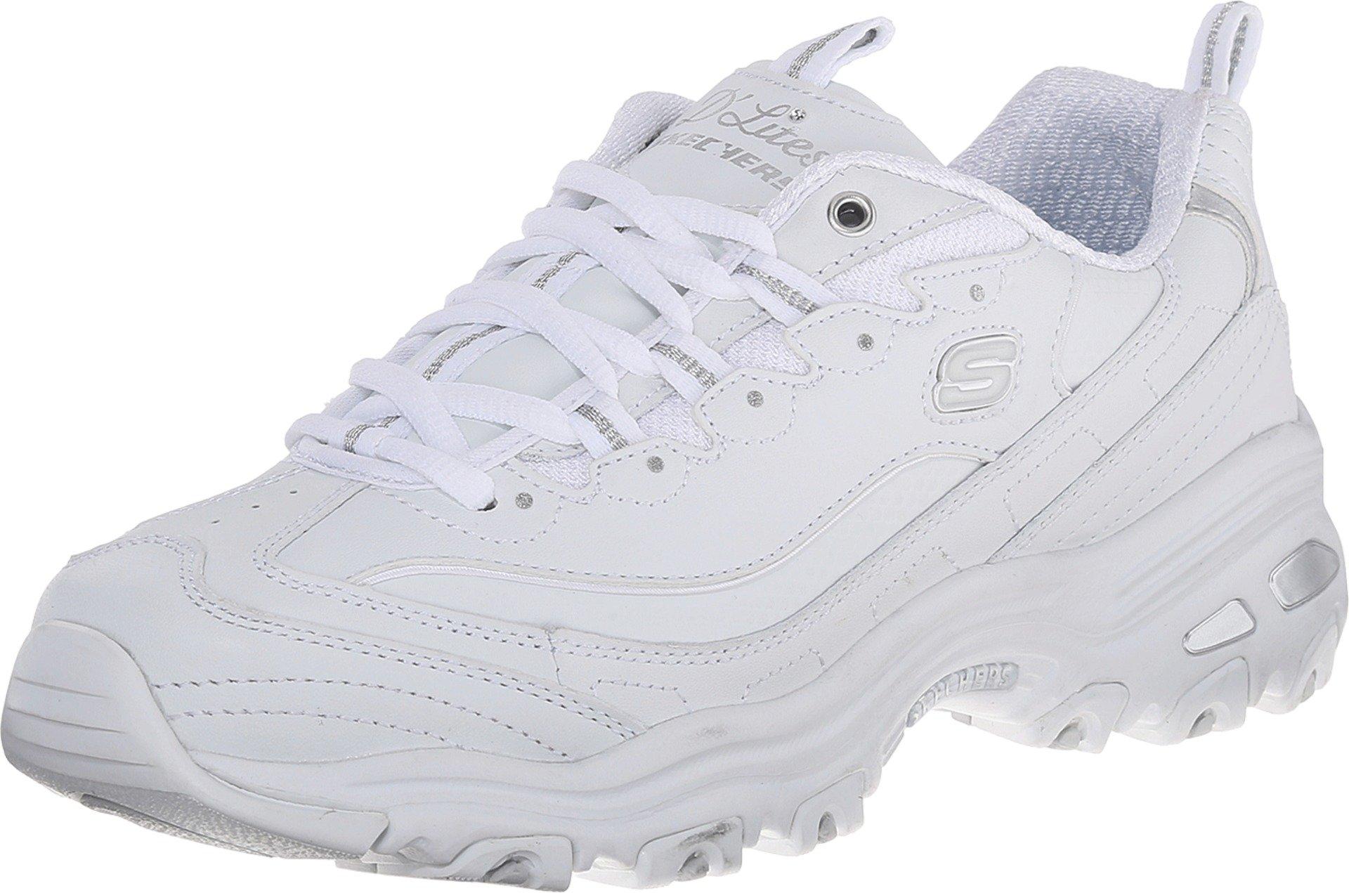 Skechers Women's D'Lites Memory Foam Lace-up Sneaker,White Silver,7 M US