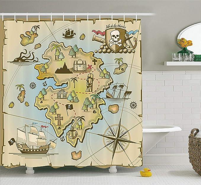 SRJ2018 Isla, Mapa, colección, Caricatura, Treasure Island, con, Barco Pirata, Pecho, Kraken, Pulpo, náutico, niños, Salade Juegos, cuartode,: Amazon.es: Hogar