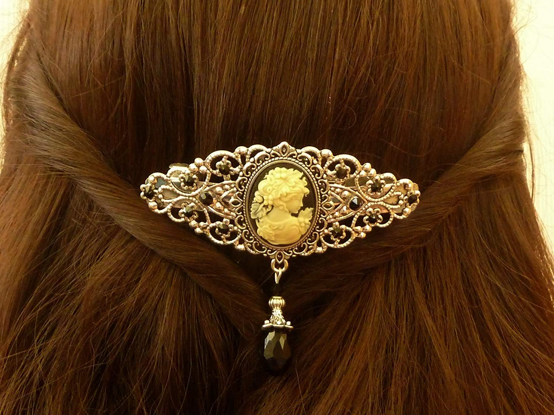 accessoires pour cheveux anciens Pince /à cheveux avec cam/ée en argent noir