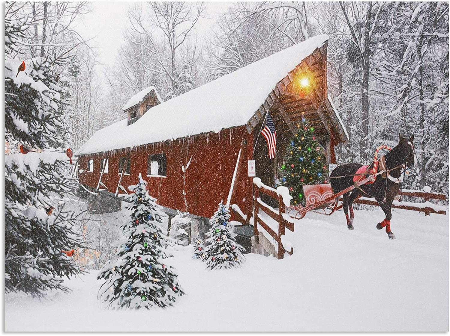 Lighted Christmas Wall Art - Red Covered Bridge and Horse Christmas Picture - LED and Fiber Optic Lights in a Canvas Print with a Winter Holiday Scene - Farmhouse Style Xmas Decor