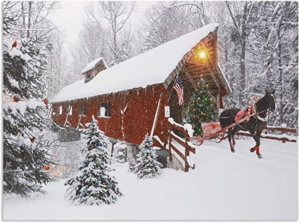 Lighted Christmas Wall Art Red Covered Bridge And Horse Christmas Picture Led And Fiber Optic Lights In A Canvas Print With A Winter Holiday Scene Farmhouse Style Xmas