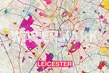 Map Of England Leicester.Amazon Com Best Quality Prints Leicester England Uk Artistic