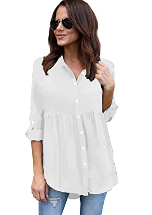 3f95b63b506c6 Yidarton Chemise Femme Chic Manches Longues Fluide Top Casual ...