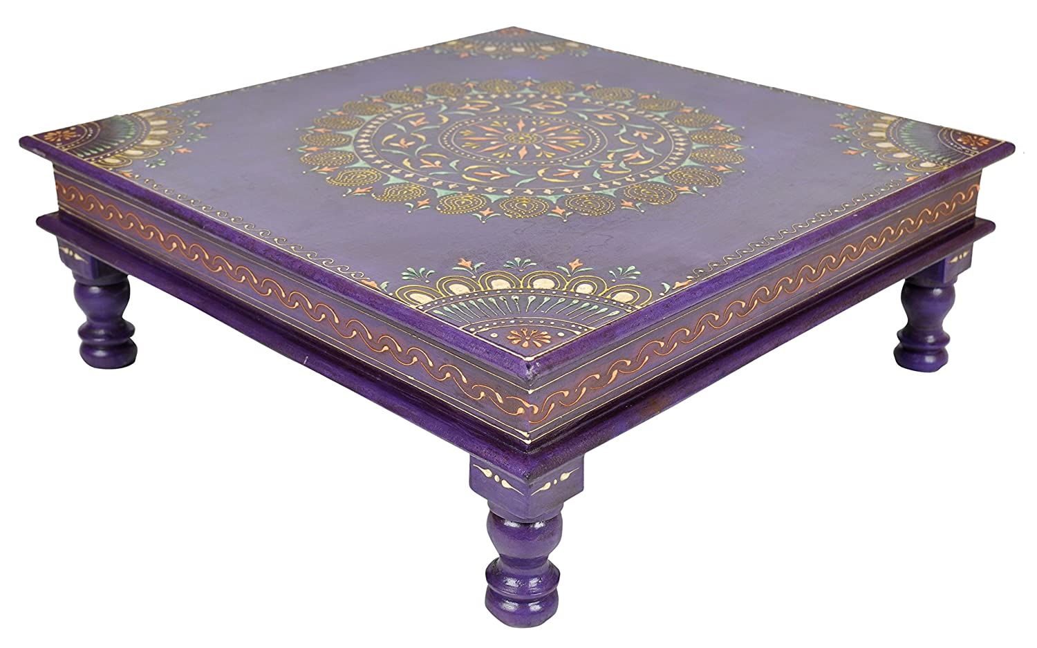 Amazon.com: Vintage Handpainted Work Design Wooden Puja Bajot Table 18 X 18  X 6 Inches: Kitchen U0026 Dining