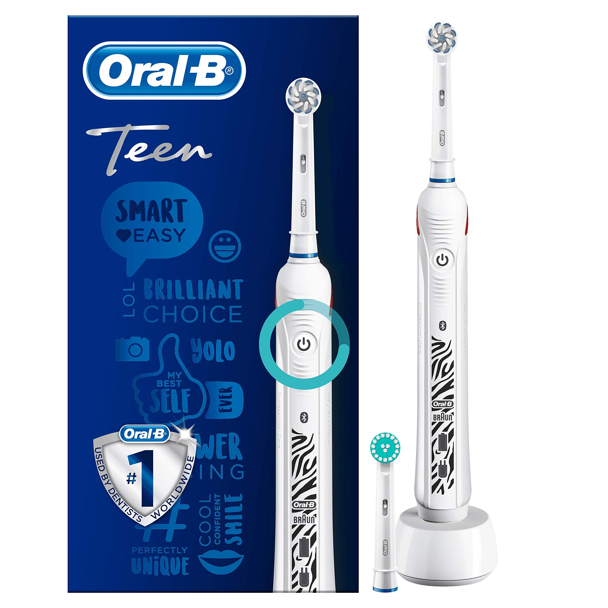 Oral-B Teen White Electric Rechargeable Toothbrush for Ages 13+, 1 Connected Handle, 1 Sensitive and 1 Orthodontic Toothbrush Heads for Use with Braces, UK 2-Pin Plug, Stocking Filler for Kids