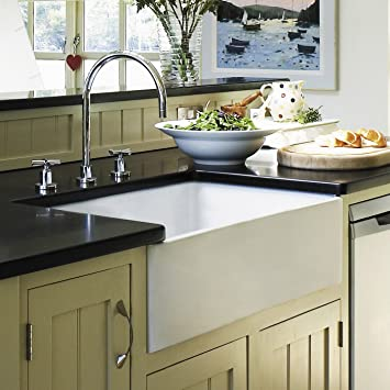 30 X 18 Fireclay Farmhouse Sink   White