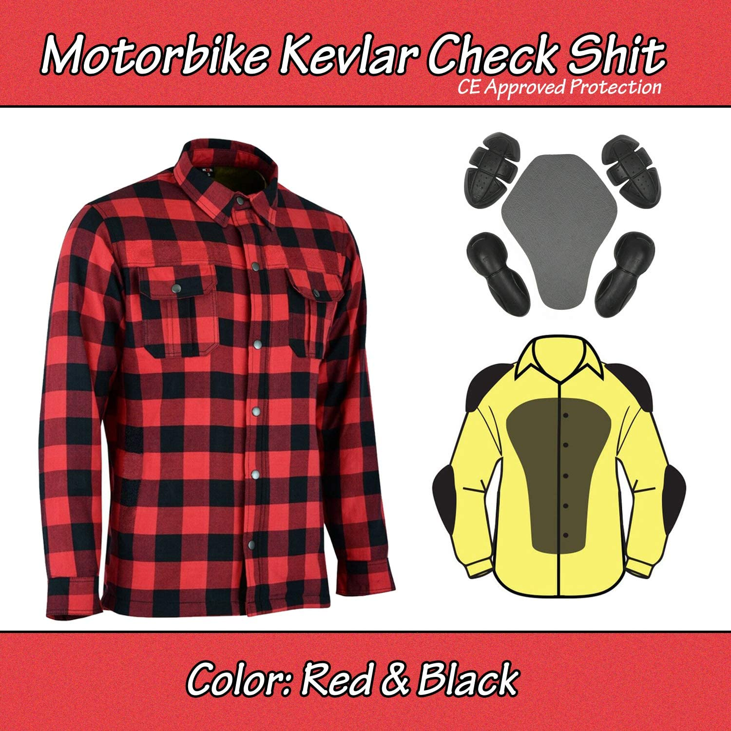 Size M to 5XL Black Kavler Shirt with CE Armour Grey Motorcycle Shirt