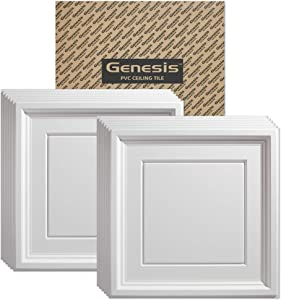 Genesis 2ft x 2ft White Icon Coffer Ceiling Tiles - Easy Drop-in Installation – Waterproof, Washable and Fire-Rated - High-Grade PVC to Prevent Breakage - Package of 12 Tiles