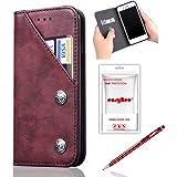 iPhone6 Plus / iPhone6s Plus ケース 手帳型 easyBee アイフォン6プラス 財布型 レザーケース スタンド機能 カード入れカバー マグネット おしゃれ プレゼントに最適 全面保護 スマホケース(ワインレッド)