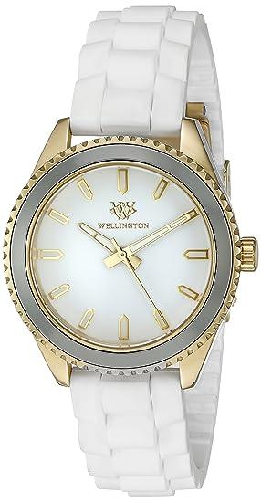 Wellington WN508-286 - Reloj analógico de cuarzo para mujer con correa de silicona, color blanco: Amazon.es: Relojes