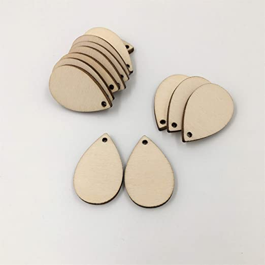 Caydo 50 Pieces Unfinished Wood Teardrop Earring Pendant for Jewelry DIY Making