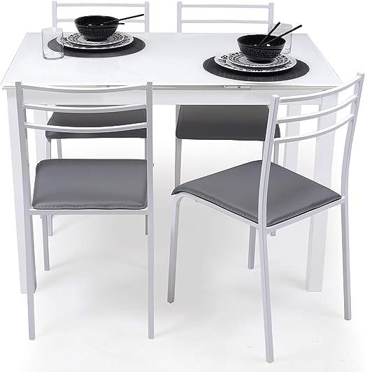 Homely Conjunto de Mesa de Cocina Extensible 110/140/170x70 cm+ 4 ...