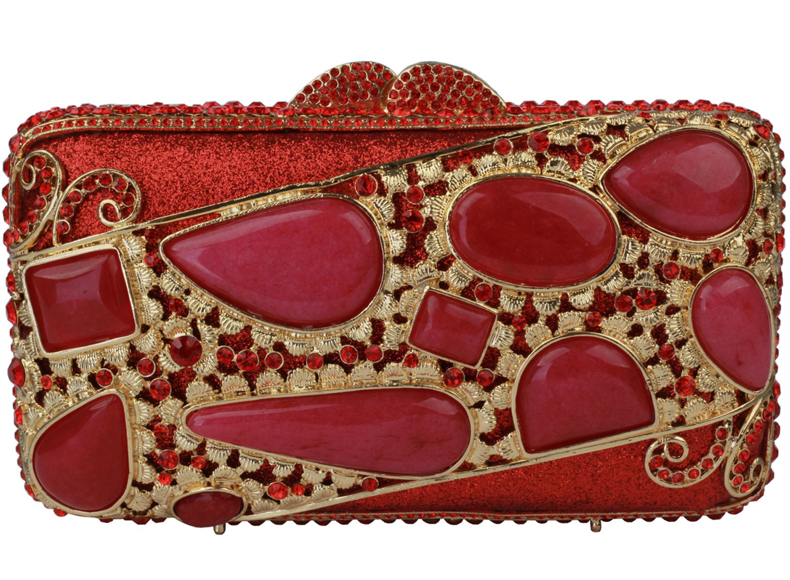Yilongsheng Ladies New agate Evening Bags With Crystal For Wedding (Red)