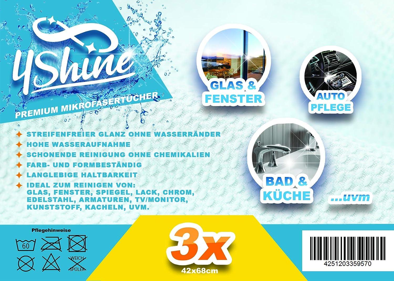 4Shine Putzt/ücher 4Shine Microfaser Fenster T/ücher Bezleri 3`er Pack
