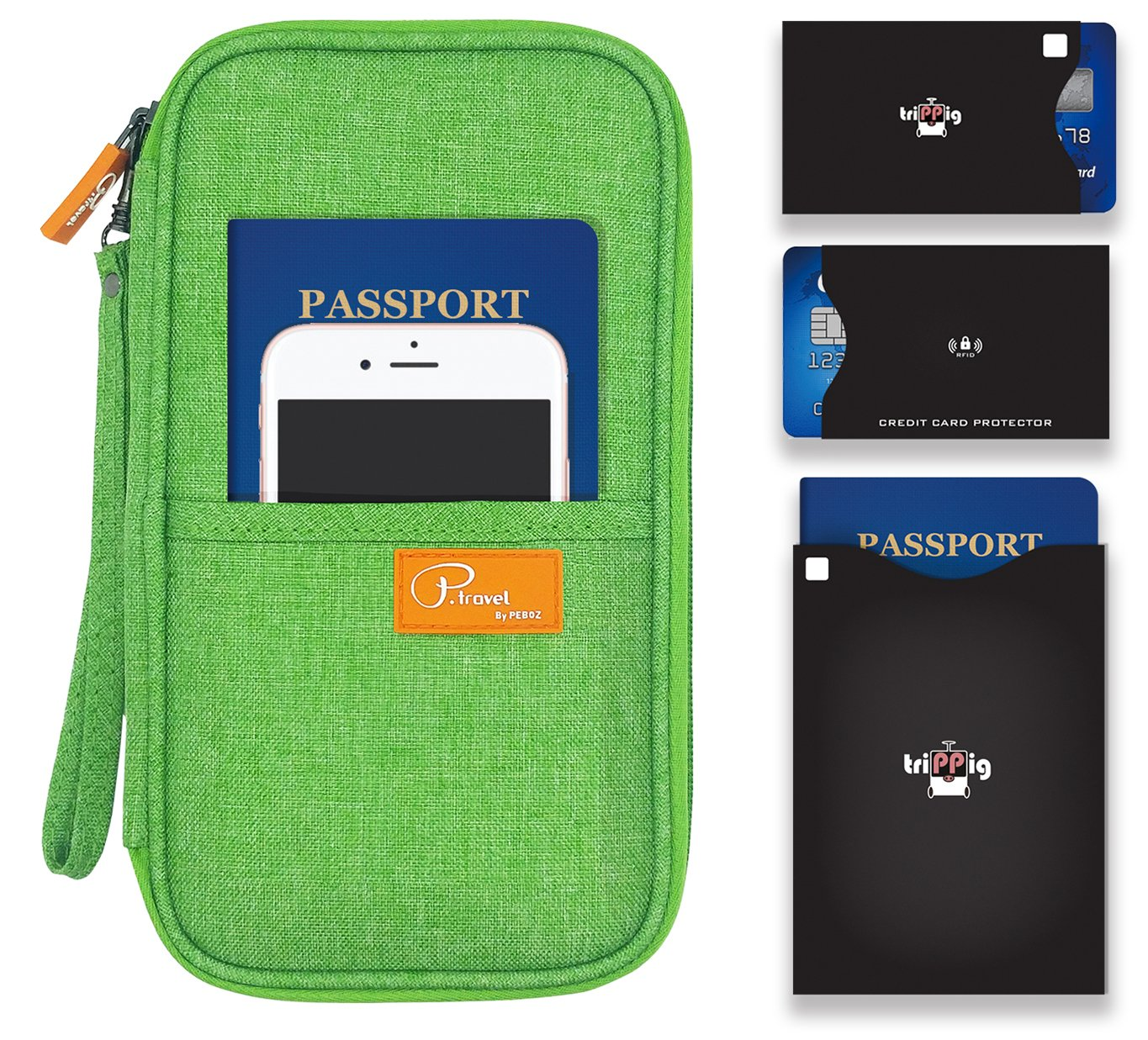 P.travel Passport wallet Linene Green with RFID Stop