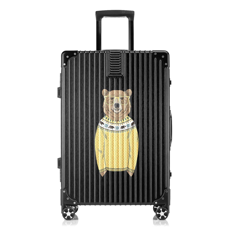 GSHCJ スーツケース カッコイイ動物 クマ キャリーケース 20インチ おしゃれ ブラック Tsaロック搭載 プリント ハード 超軽量 軽い 機内持込 ロックファスナー 旅行 ビジネス 出張 海外 修学旅行 丈夫 便利 レディース メンズ 学生 B07RZ7JH37
