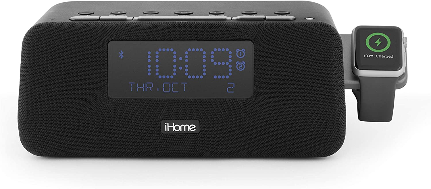 iHome IWBT5 Bluetooth Alarm Clock FM Stereo Radio, Apple Watch Charging, Dual USB Charging Ports, Speakerphone, and Dual Alarm Bedside Desk Clock