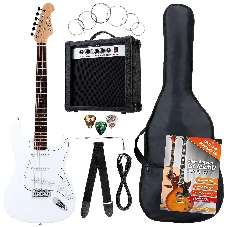 Rocktile Banger's Pack Set Guitare Électrique, 7 Pièces Blanc 00036282