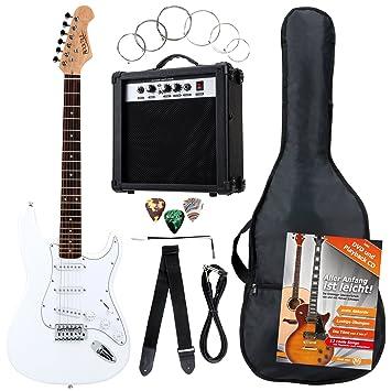 Rocktile Bangers Pack - Set de 7 piezas con guitarra eléctrica, color blanco