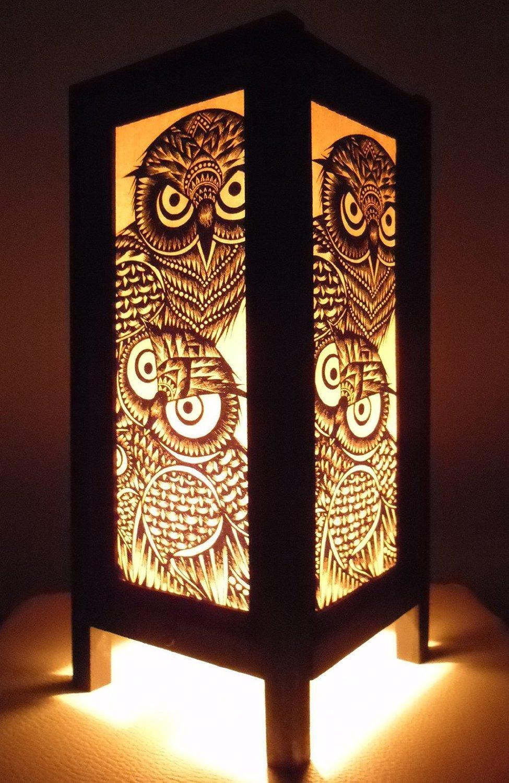 Thai Vintage Handmade Asian Oriental Handcraft Night Owl Bird Bedside Table Lights or Floor Wood Paper Lamp Home Decor Bedroom Decoration Modern Design from Thailand