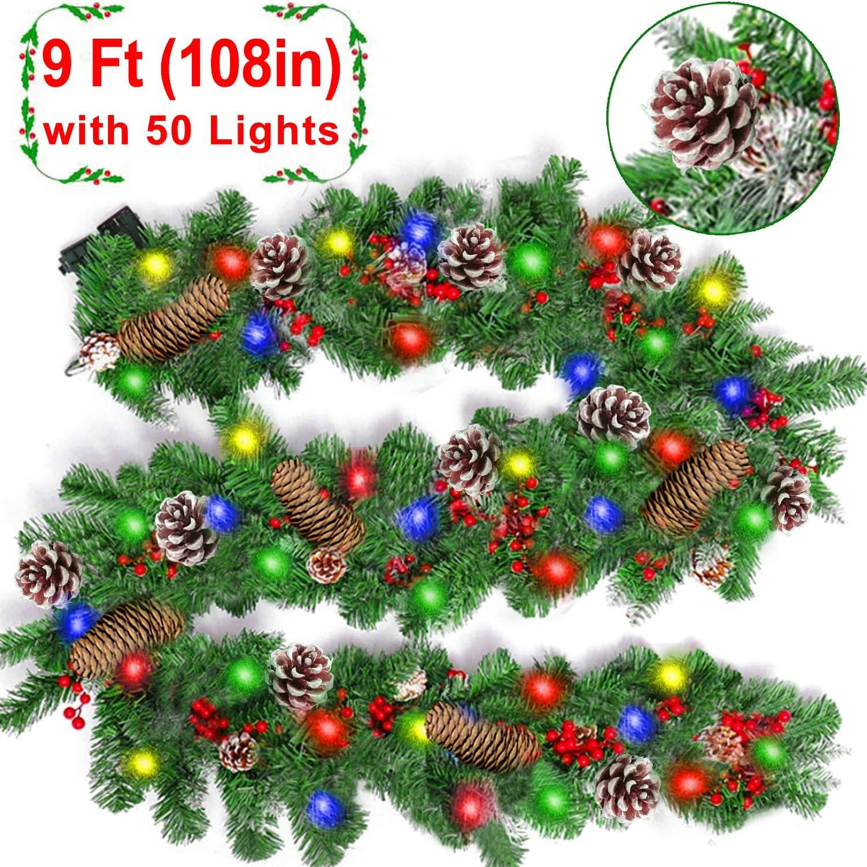 Amazon Com 9 Foot Christmas Garland With Lights Christmas