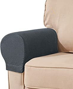 subrtex Spandex Stretch Fabric Armrest Covers Anti-Slip Furniture Protector Armchair Slipcovers for Recliner Sofa Set of 2 (Gray)